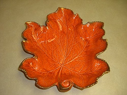"Vintage California Original Pottery Maple Leaf Bowl # 719 Bright Orange Gold Speckles 14""x 14"" (Pottery Leaf Bowl)"