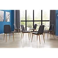 Dining Room Chairs Set for 6 People Wooden Look Pattern Dining Chairs With Fabric Cushion Seat