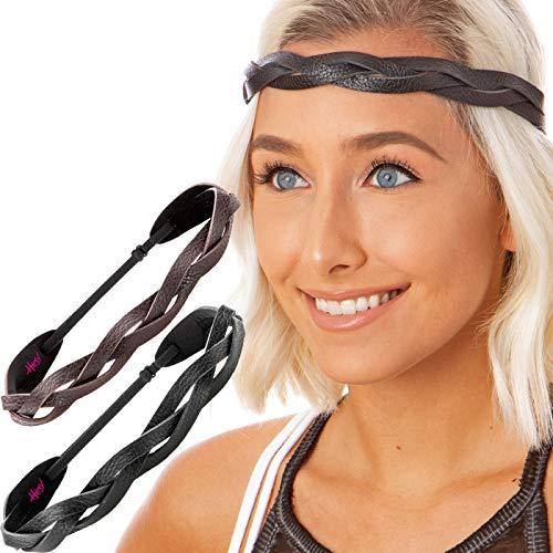 Hipsy Women's Adjustable Cute Fashion & Sports Headbands for Women and Girls Hairbands (Genuine Leather Black & Brown Headband Braid 2pk)