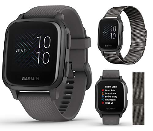 Garmin Venu Sq (Shadow Gray/Slate) Extra Style Band Bundle | 2020 Model | with Extra Milanese Metal Watch Band (Dark Gray) by PlayBetter | Bright Screen & Wrist-Based HR | Fitness GPS Smartwatch