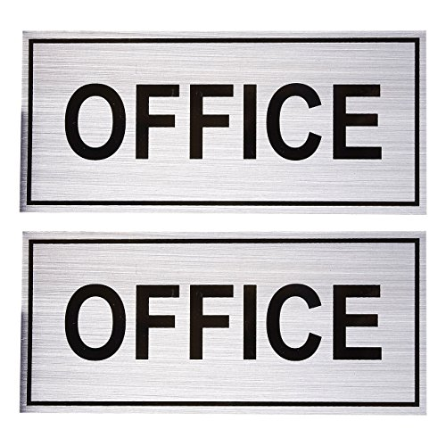 2-Pack Office Signs - Office Wall Plates, Self-Adhesive Aluminum Office Signage for Wall or Door, Silver - 7.87 x 3.6 Inches from Juvale