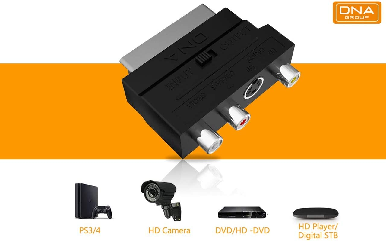 DNA SCART Adapter SCART to RCA//Phono//Component//Composite AV Cable Adapter Switchable RCA//Composite//AV to SCART Connector