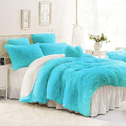 (Sleepwish Plush Velvet Bed Set 3 Piece Blue Shaggy Comforter Cover Boys Girls Dorm Soft Fluffy Faux Fur Bedspread,)