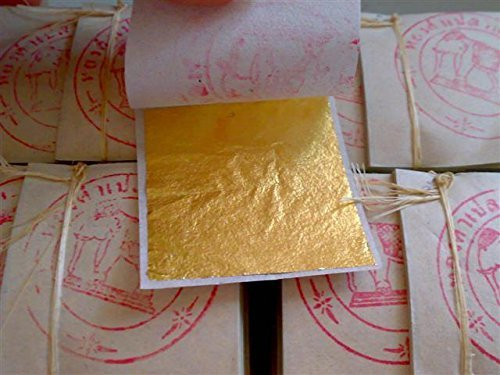 Gold Leaf Sheets 999/1000 Real Gold : 100 Gold Leaf Sheets