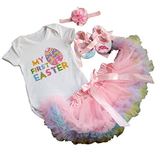 [AISHIONY 4PCS Baby Girl Newborn My 1st Easter Tutu Onesie Outfit Skirt Dress XL] (Baby Easter Dresses)