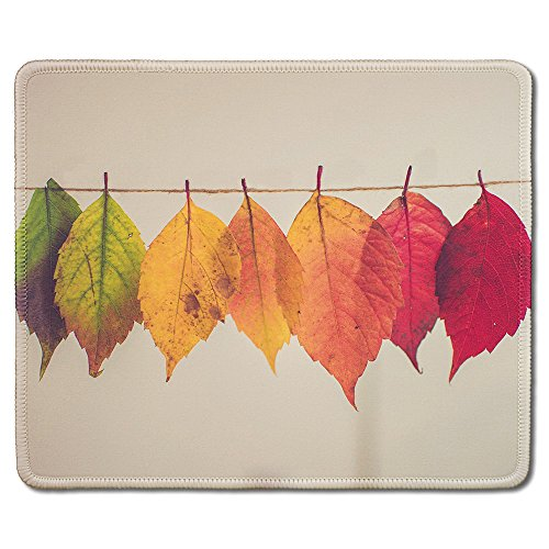 dealzEpic - Art Mousepad - Natural Rubber Mouse Pad Printed with Colorful Leaves on a String - Stitched Edges - 9.5x7.9 - Custom Mouse Printed Pad