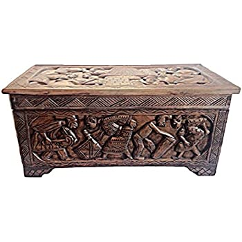 Charming African Carved Wooden Handmade Trunk Chest/ Center Table