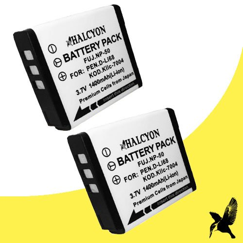 Two Halcyon 1400 mAH Lithium Ion Replacement Battery for Pentax Q7 Compact Mirrorless Camera and Pentax D-LI68 by Halcyon
