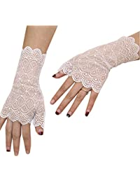 Short Lace Gloves UV Protection Fingerless Gloves Prom Party Driving Wedding