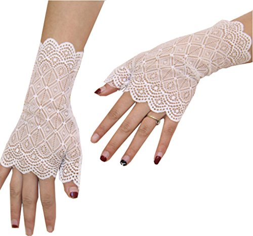 YunKo Sexy Vintage Floral Summer Short Lace Gloves UV Protection Fingerless Gloves Wrist Length Prom Party Driving Wedding Gloves (White)