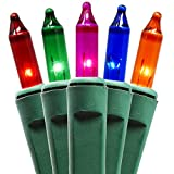 Holiday Essence 100 Multi-Color Christmas Lights with Green Wire - Professional Grade for Indoor/Outdoor Use - Static + Flashing