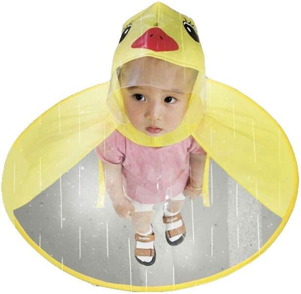 IdealPlast Cute Rain Coat UFO Children Umbrella Hat Magical Hands Free Raincoat (Yellow Dark, S)