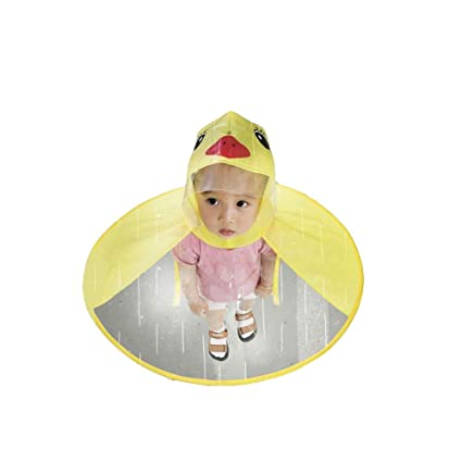 Amazon.com  IdealPlast Cute Rain Coat UFO Children Umbrella Hat Magical  Hands Free Raincoat (Yellow Dark 7988582a85c