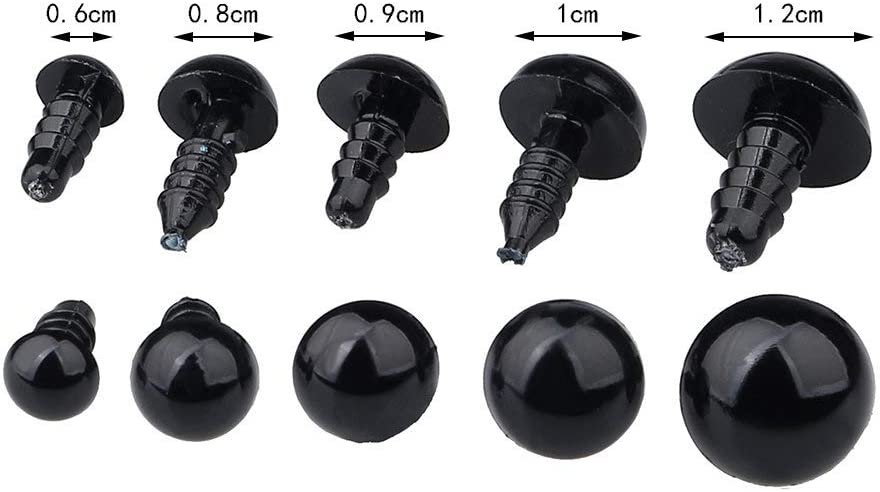 July miracle Plastic Safety Eyes Black 100Pcs Screw with Washer for Making Doll Toys DIY Crafts