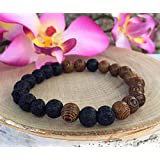 Lava Rock Bead Essential Oil Diffuser, Men Women Aromatherapy Bracelet, Choose Your Size, Customize
