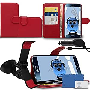 iTALKonline Samsung Galaxy S6 Edge SM-G925 Red PU Leather Executive Multi-Function Wallet Case Cover Organiser Flip with Credit / Business Card Money Holder Integrated Horizontal Viewing Stand, 3 Layer LCD Screen Protector, Claw 360 Degrees Rotating Case Compatible In Car Windscreen Suction Mount Holder and 1000 mAh Coiled In Car Charger LED Indicator and Overload Protection