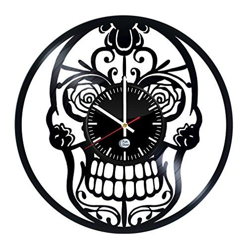 Skull Design handmade vinyl record wall clock – Best gift