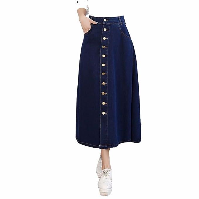 9410b9a0a YUCH Media Falda De Mujer De Cintura Alta Big Swing Loose Casual ...