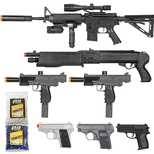 Realistic Masks Cheap (BBTac Airsoft Gun Package - Black Ops - Collection of Airsoft Guns - Powerful Spring Rifle, Shotgun, Two SMG, Mini Pistols and BB Pellets, Great for Starter Pack Game Play)