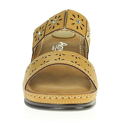 Compensé Sandales Faible Décontracté Taille Femmes London Ouvert Légères Aarz Bout Chaussures Beige Dames Confort Pour Talon Été wFC6fqnp