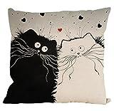 Pillow Case,Singleluci Cute Cat Cotton Sofa Waist Throw Cushion Cover (B)