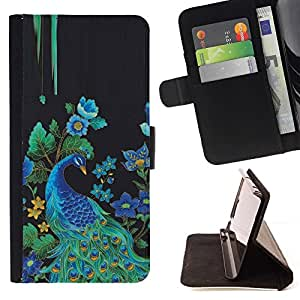 For LG G2 D800 Peacock Bird Floral Rye Feathers Blue Beautiful Print Wallet Leather Case Cover With Credit Card Slots And Stand Function