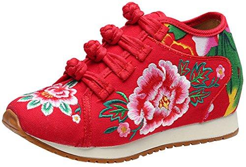 Satuki Håndlaget Brodert Sko For Kvinner, Kinesisk Knute Stil Uformell  Loafer Floral Sko Røde