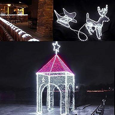 LE Tira de luces 10m 240 LED, Resistente al agua IP44, Blanco frío (Luz fija), Cadena de luces, Jardín, terraza, patio, Manguera de luces de Navidad: Amazon.es: Iluminación