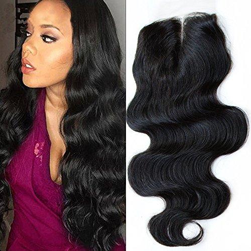 ZM Hair 14 Inch Brazilian hair 4x4 Body Wave Top Closure Natural Black Virgin Human Hair Middle Part Lace Closure(14)