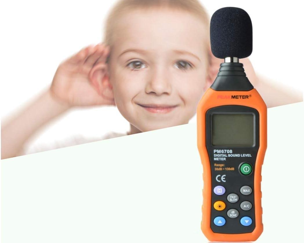 Sonom/ètre professionnel Testeur de bruit num/érique /Écran LCD Audio Vioce D/écrivez le testeur de pression de moniteur d/écibel Blanc
