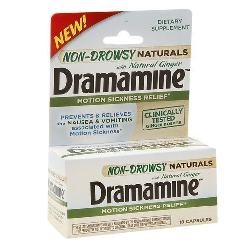 Dramamine Non-Drowsy Naturals Motion Sickness Relief Capsules 18 ea Pack of 4 by Dramamine