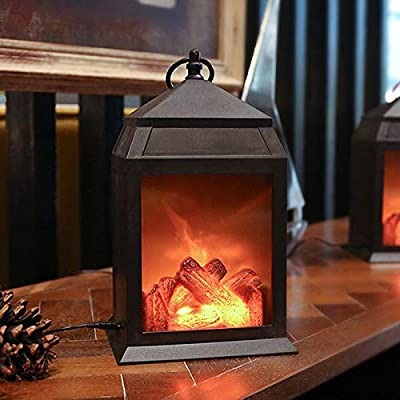 Decorative Realistic Fireplace Lanterns and Battery+USB Operated and 6 Hour Timer Included-Plastic Material-Tabletop Decorative Lanterns-Indoor/Outdoor 1PC Black