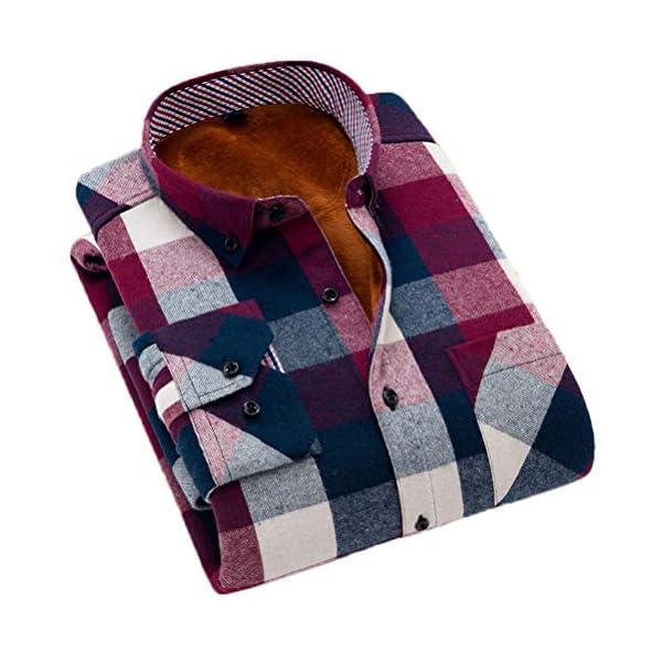 Soojun Men's Fleece Lined Plaid Thermal Flannel Shirt