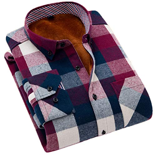 Soojun Men's Fleece Lined Plaid Thermal Flannel Shirt, F41, Large(US ()