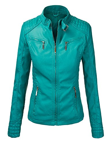 WJC694 Womens Quilted Biker Jacket XS TURQUOISE