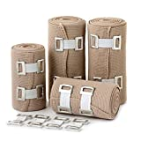 Product review for Elastic Bandage Wrap Compression Roll - Set Of 4 Compression Bandages - Compression Wraps - Compression Bandage Roll With Hook Closure - Elastic Bandage Clips