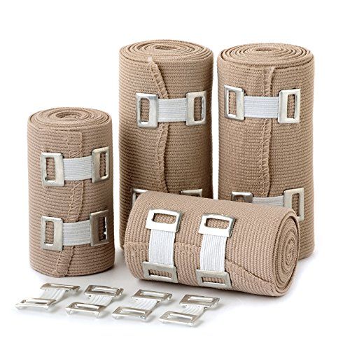Elastic Bandage Wrap Compression Roll - Set of 4 Compression Bandages - Compression Wraps - Compression Bandage Roll with Hook Closure - Elastic Bandage Clips - Polyester Bandage (Wrap Elastic)