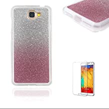 For Samsung Galaxy J2 Prime Case [with Free Screen Protector].Funyye Clear Soft Ultra Thin Gel Silicone Shock Proof Durable Scratch Resistant Jelly Rubber TPU Glitter Pink Gradual Colour Changing Protective Case Cover Skin Shell for Samsung Galaxy J2 Prime