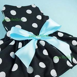 Fitwarm Cute Polka Dot Ribbon Dog Dress Dog Clothes Cozy Dog Shirt Pet Dress, Medium