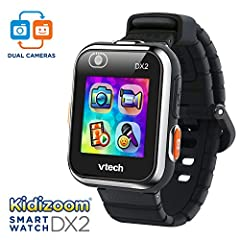 Features two cameras that allow your child to capture everything from action video to selfies. Then play games and tell time with customizable clock faces! Customize watch faces with photo clock faces Maker choose between 55 digital and analo...