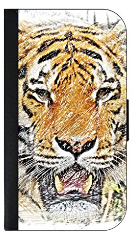 Tiger Drawing Print Apple Ipad mini - Versions 1/2/3 Black PU Leather & Suede Case ()