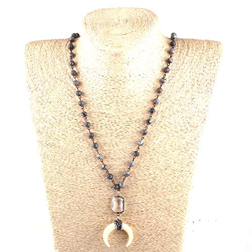 Davitu Bohemian Tribal Jewelry 6mm Map Stone Rosary Chain White Crystal Link Beige Ox Horn Pendant Necklace Set Main Stone Color: pic Jasper, Length: 86cm