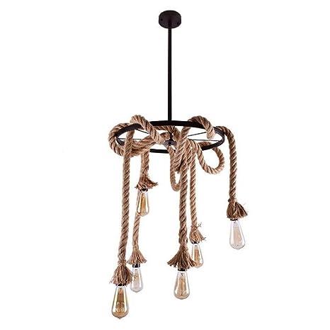 6-Luces Círculo de madera Araña Lámpara de iluminación ...