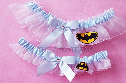 Customizable handmade – White  Light Blue – Batman fabric handcrafted keepsake bridal garters wedding garter set