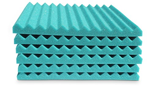 "Soundproofing Acoustic Studio Foam - Teal Color - Wedge Style Panels 12""x12""x1"" Tiles - 6 Pack by SoundAssured (Image #6)"