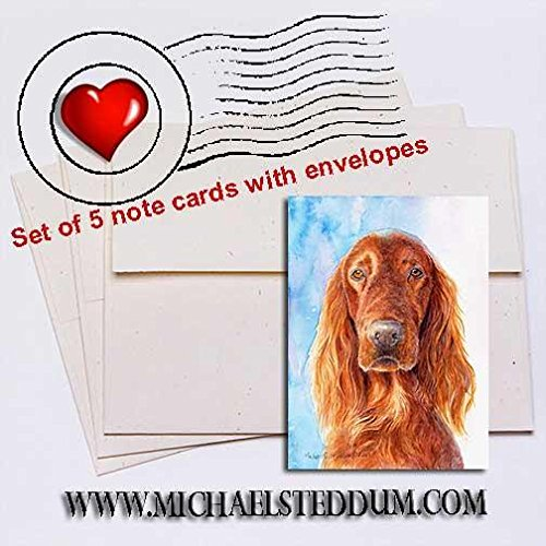 Michael Steddum A Irish Setter Head Study IV Note Card Set