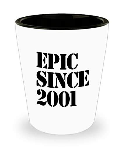 2001 Gift Idea For 17th Birthday Shot Glass Unique
