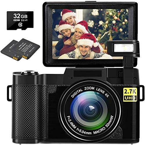 Digital Camera Vlogging Camera Full HD 2.7K 30MP Vlog Camera for YouTube Compact Digital Cameras with 32G Memory Card and a pair of Batteries(Fixed Focus)