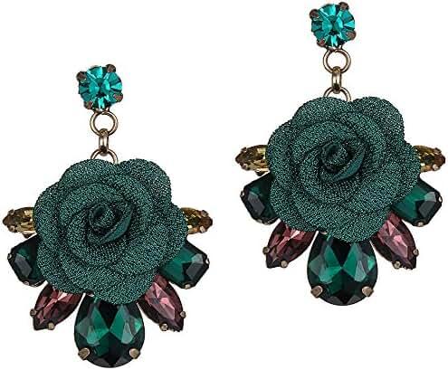 eManco GreenCrystalLace Flower Earring Drop Dangle Hanging Earrings for Women & Girls, Large Flowers