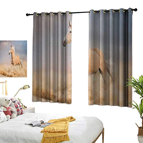 Bedroom Curtains W55 x L63 Horses,Palomino Horse in Sand Desert with Long Blond Male Hair Power Wild Animal, Purple Grey Peach Blackout Window Curtains Living Room Dining Room Kids Youth Room Win ()